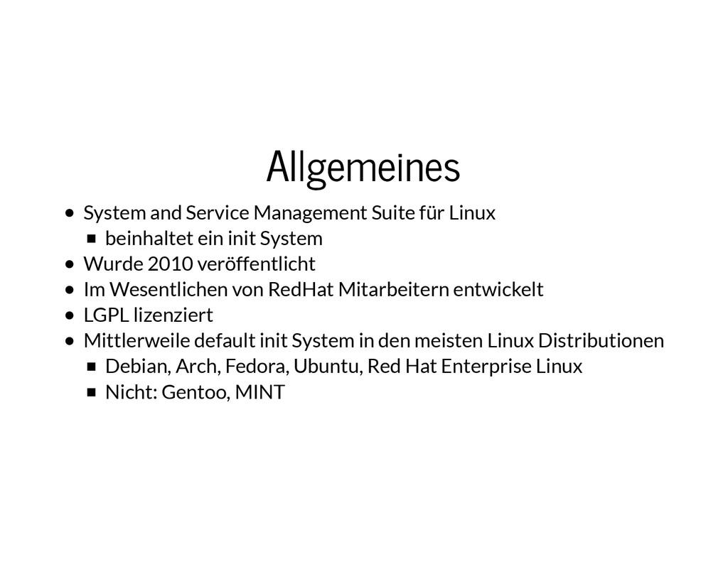 Allgemeines Allgemeines System and Service Mana...