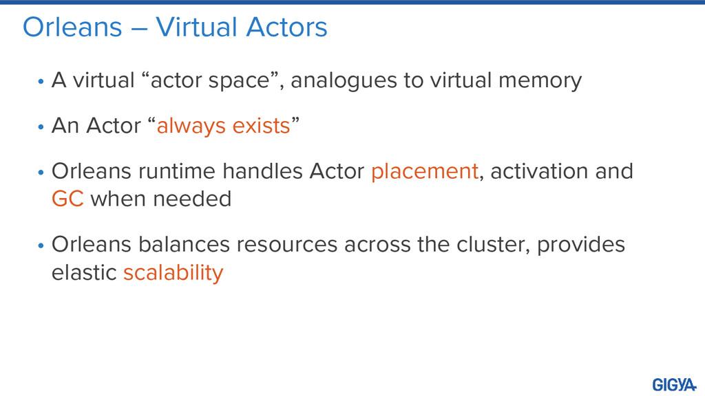 """Orleans – Virtual Actors • A virtual """"actor spa..."""