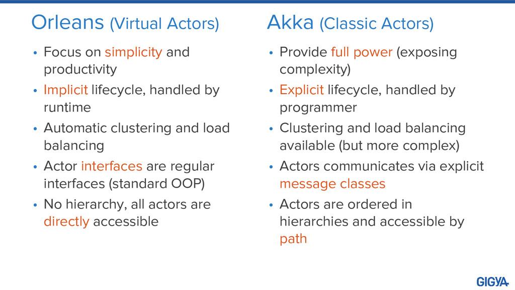 Orleans (Virtual Actors) • Focus on simplicity ...