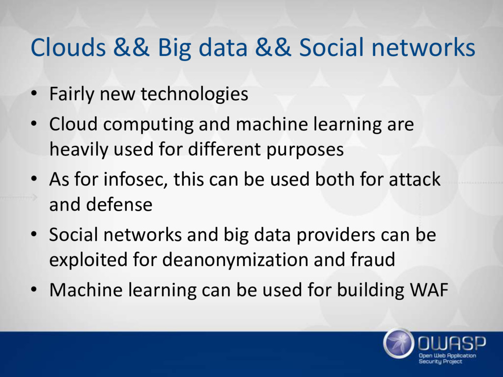 Clouds && Big data && Social networks • Fairly ...