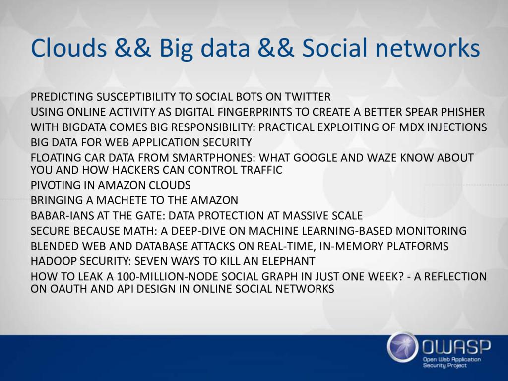 Clouds && Big data && Social networks PREDICTIN...