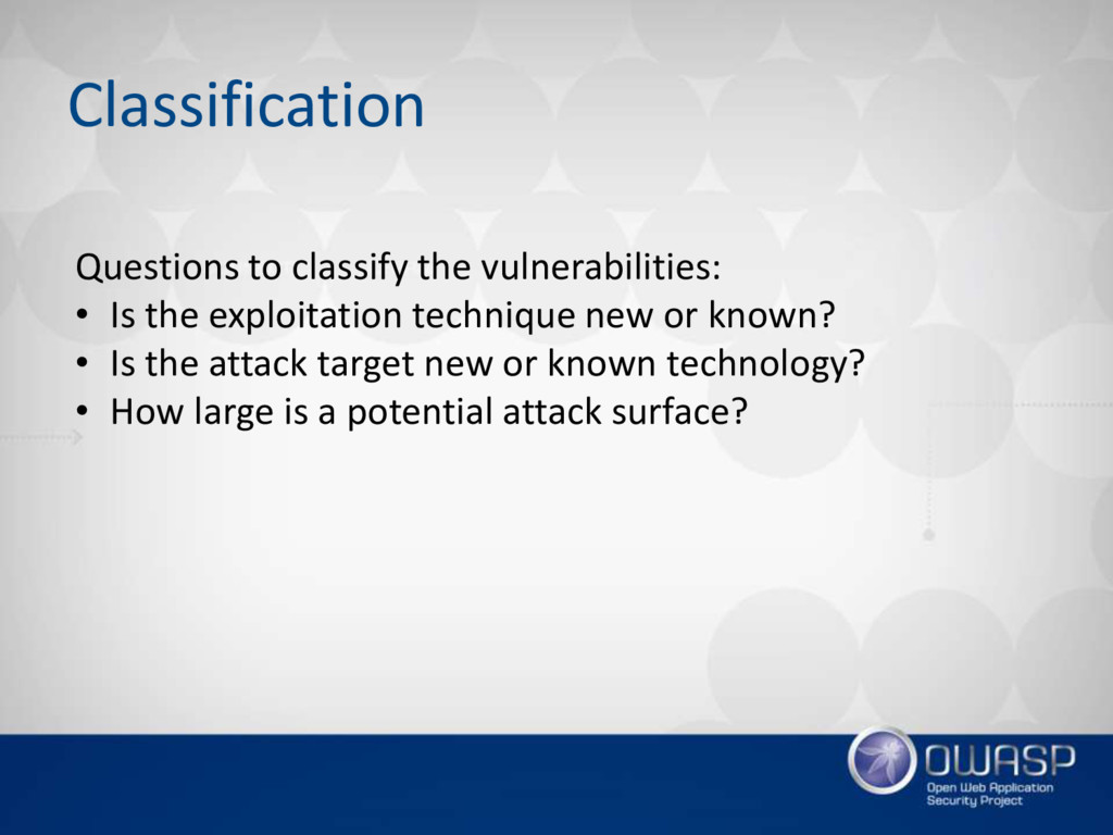 Classification Questions to classify the vulner...
