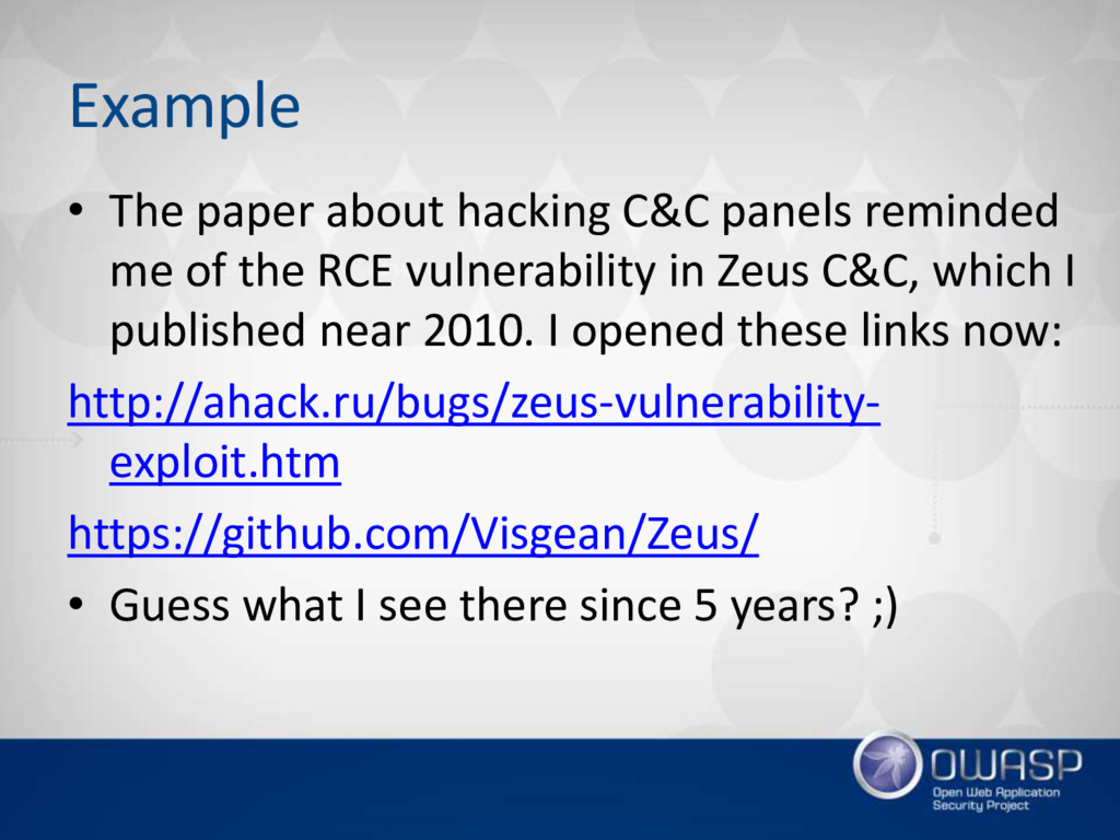 Example • The paper about hacking C&C panels re...