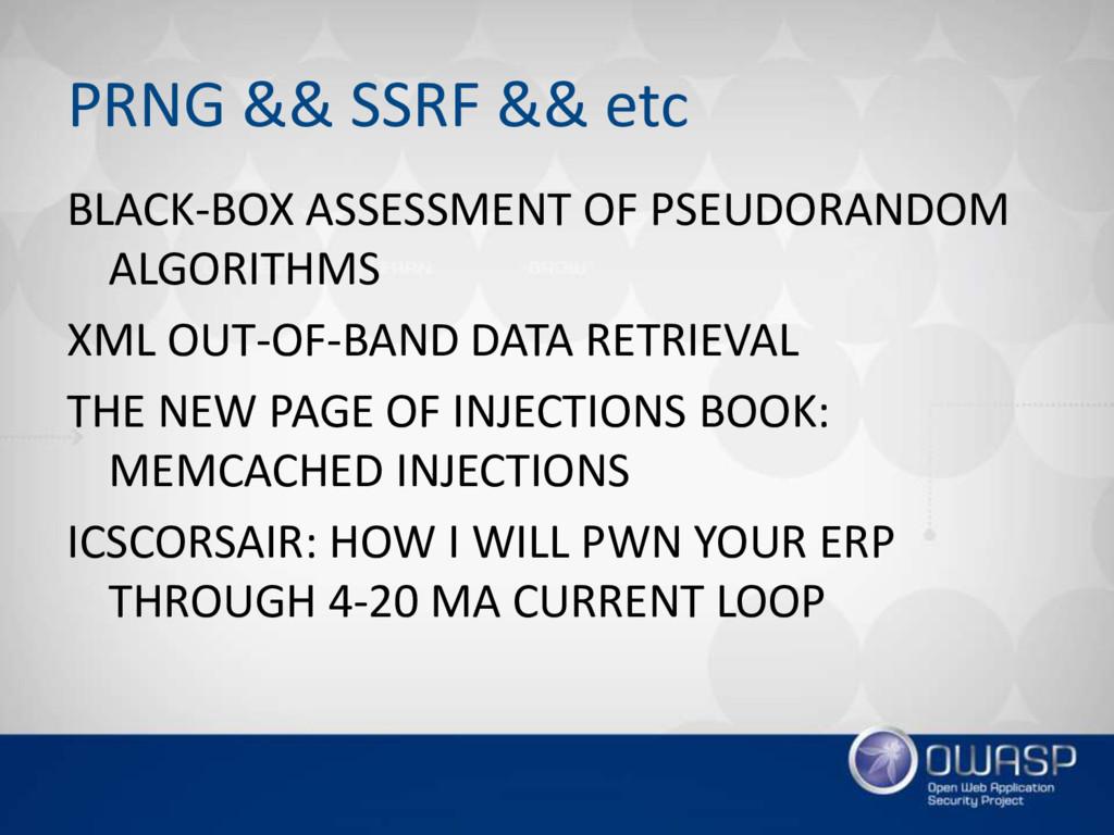 PRNG && SSRF && etc BLACK-BOX ASSESSMENT OF PSE...
