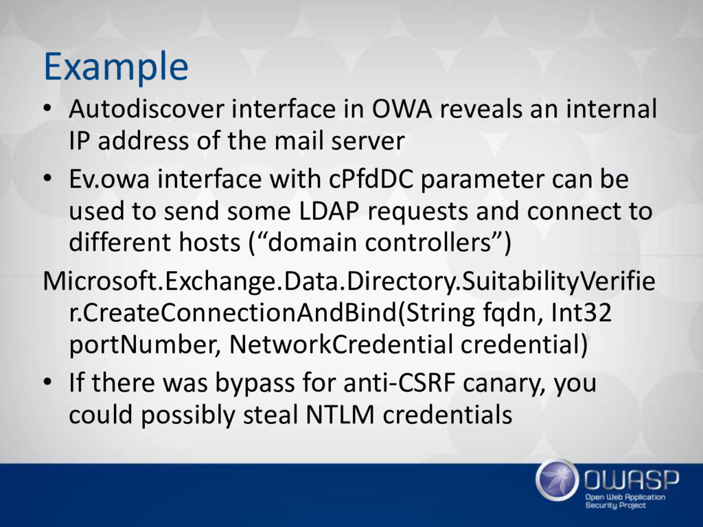 Example • Autodiscover interface in OWA reveals...