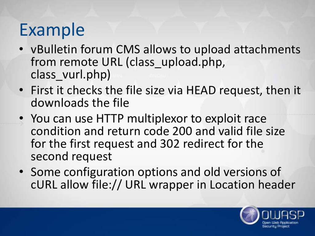 Example • vBulletin forum CMS allows to upload ...