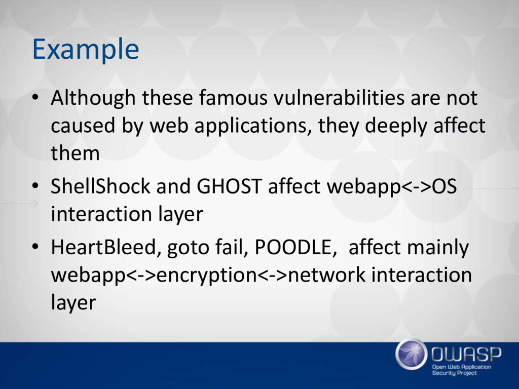 Example • Although these famous vulnerabilities...