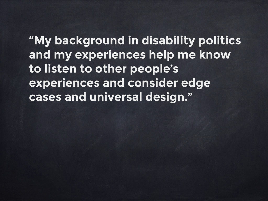 """""""My background in disability politics and my ex..."""