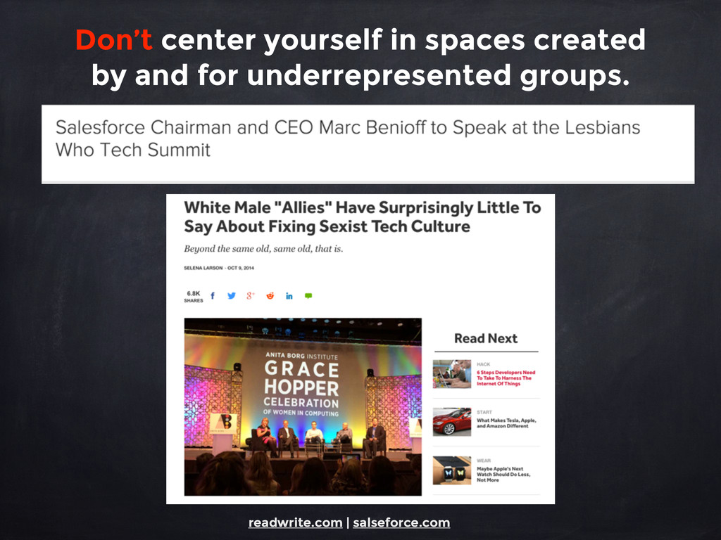 Don't center yourself in spaces created by and ...