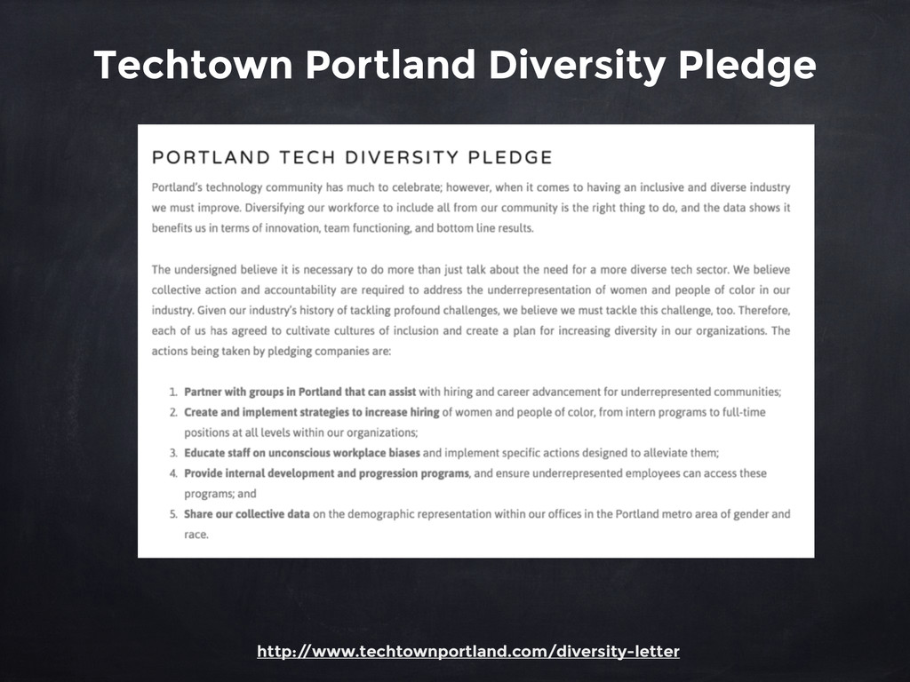 Techtown Portland Diversity Pledge http:/ /www....