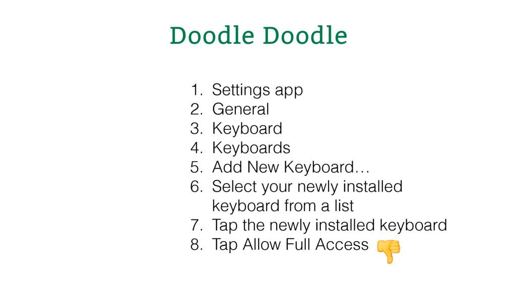 Doodle Doodle 1. Settings app 2. General 3. Key...