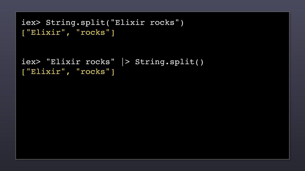 "iex> String.split(""Elixir rocks"") [""Elixir"", ""r..."