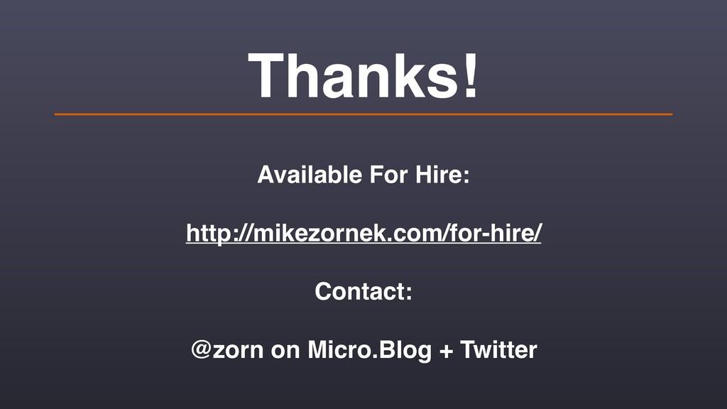 Thanks! Available For Hire: http://mikezornek.c...