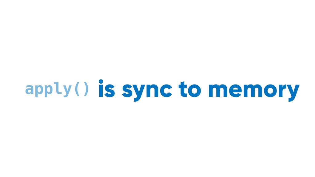 sync to memory async to disk apply() is