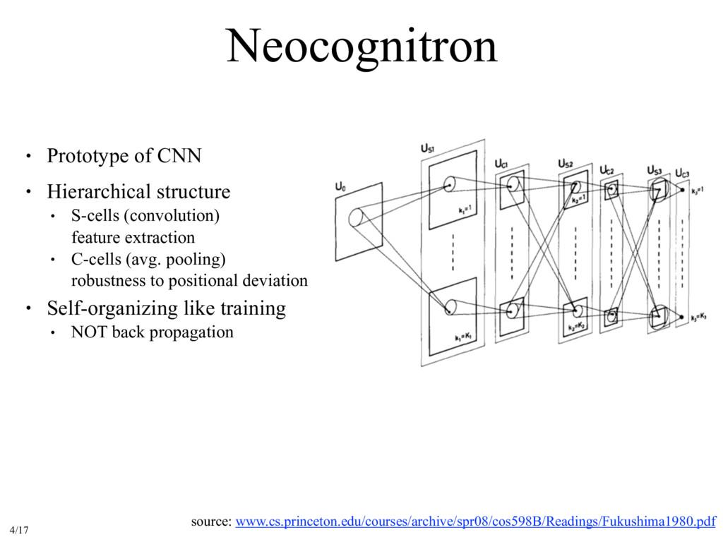 Neocognitron source: www.cs.princeton.edu/cours...