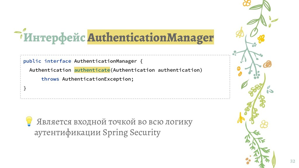 Интерфейс AuthenticationManager 32 public inter...