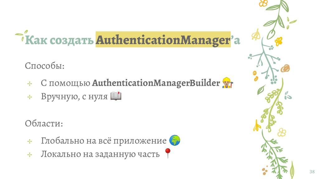 Как создать AuthenticationManager'а 38 Способы:...