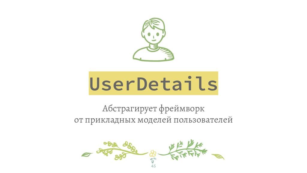 UserDetails Абстрагирует фреймворк от прикладны...