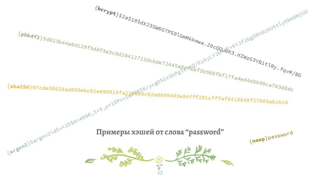 """Примеры хэшей от слова """"password"""" 52 {bcrypt}$2..."""