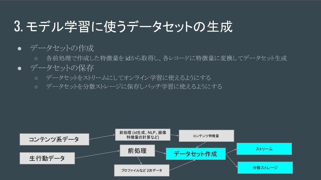 3. モデル学習に使うデータセットの生成 ● データセットの作成 ○ 各前処理で作成した特徴量...