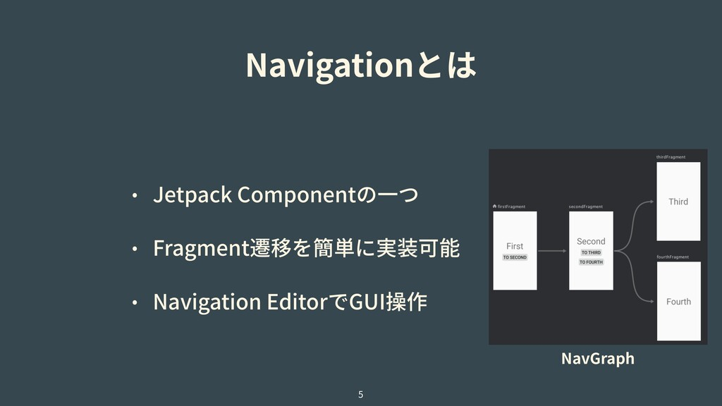 Navigationとは • Jetpack Componentの⼀つ • Fragment遷...