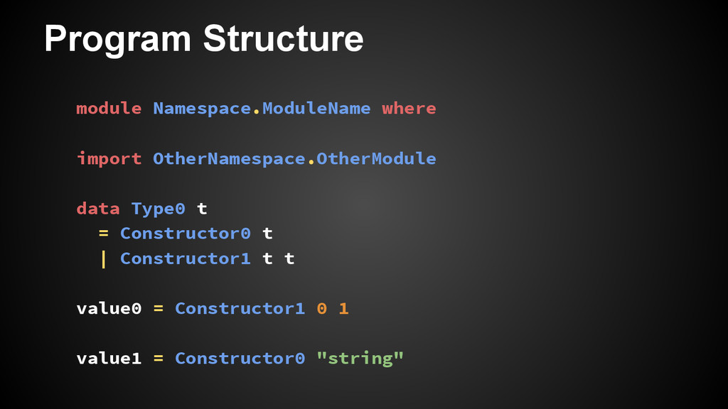 Program Structure module Namespace.ModuleName w...
