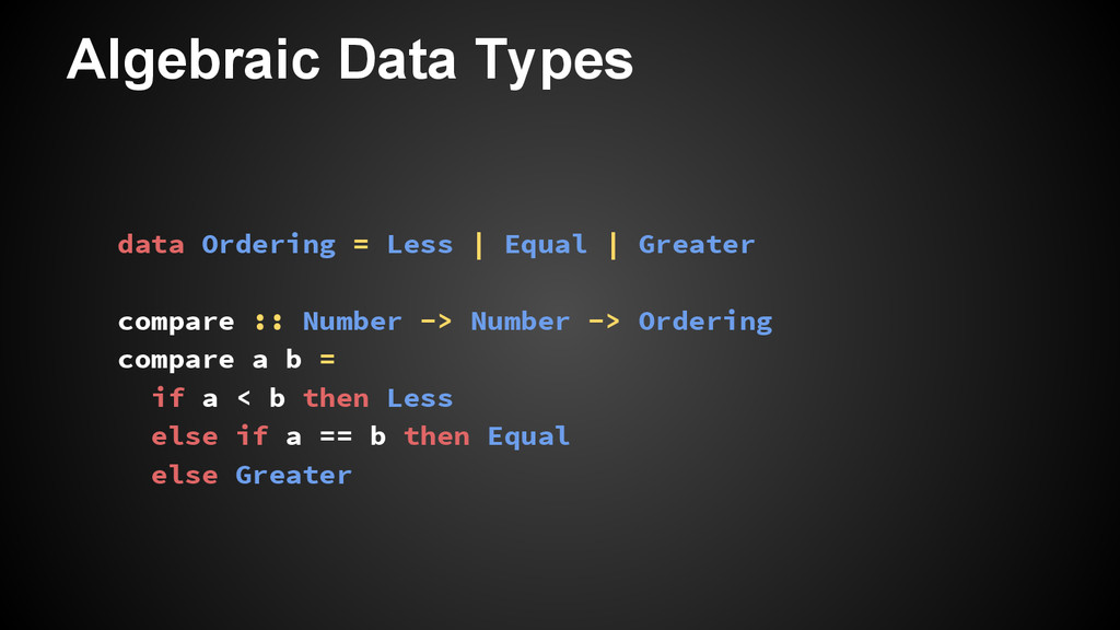 Algebraic Data Types data Ordering = Less | Equ...