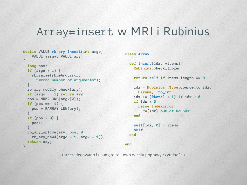 Array#insert w MRI i Rubinius static VALUE rb_a...
