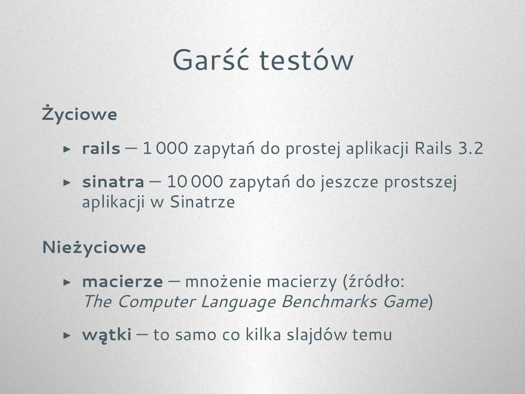 Garść testów Życiowe ▶ rails — 1 000 zapytań do...