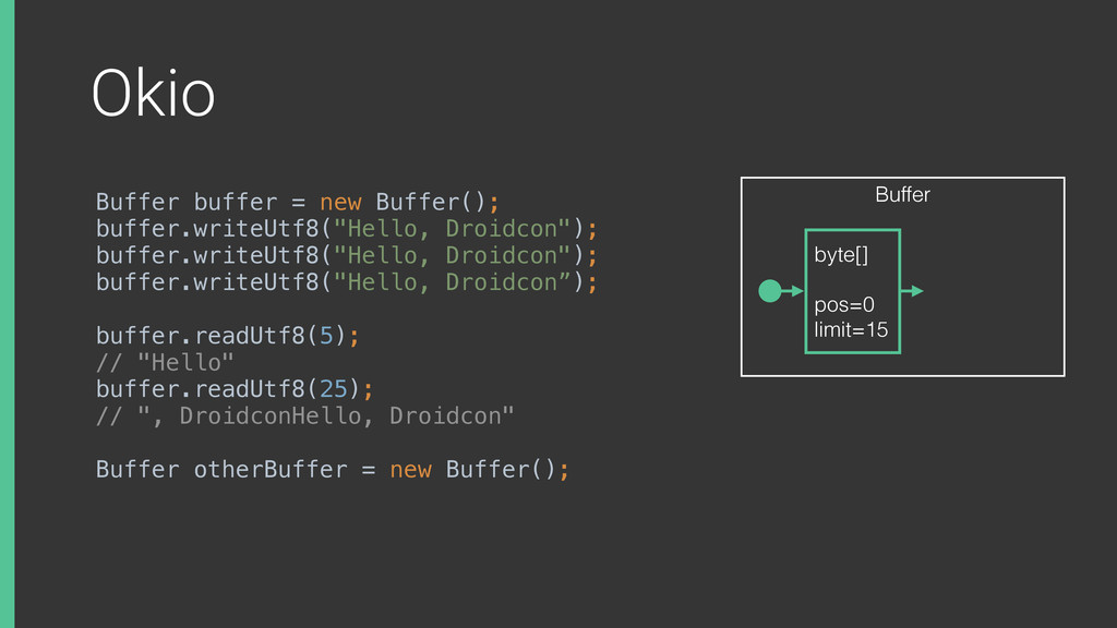 Okio Buffer buffer = new Buffer(); buffer.write...