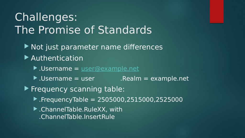 Challenges: The Promise of Standards  Not just...