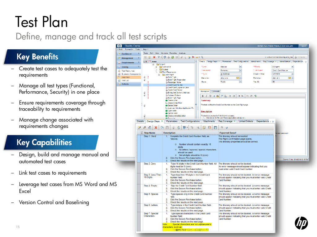 15 Define, manage and track all test scripts Te...