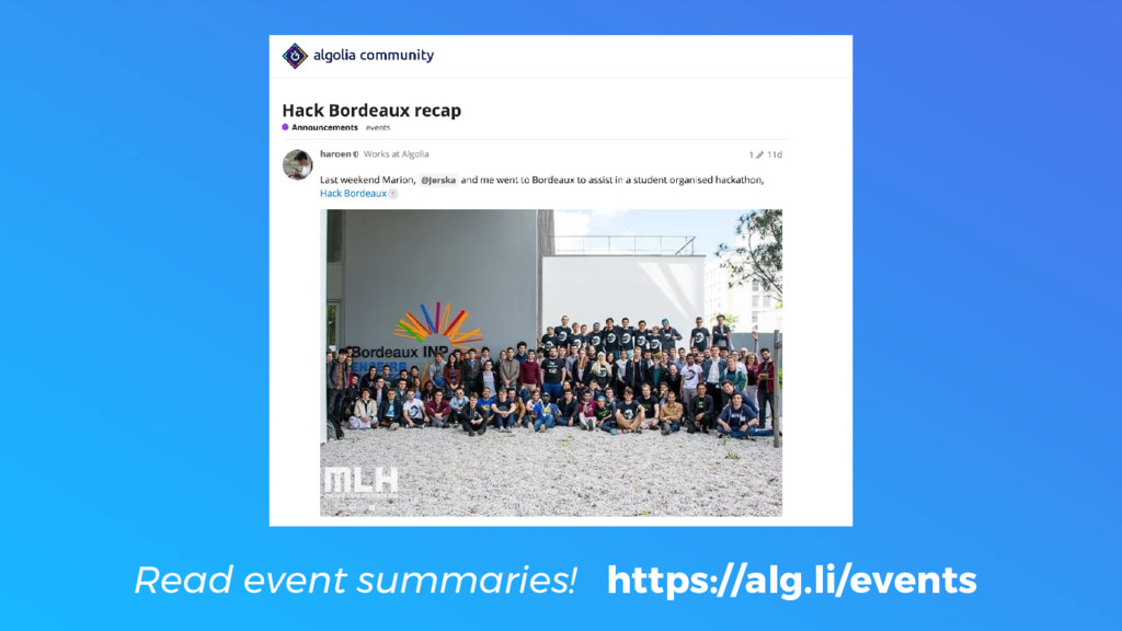 Read event summaries! https://alg.li/events
