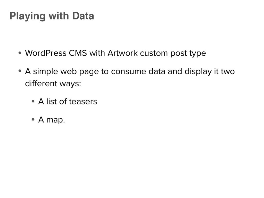 ● WordPress CMS with Artwork custom post type ●...
