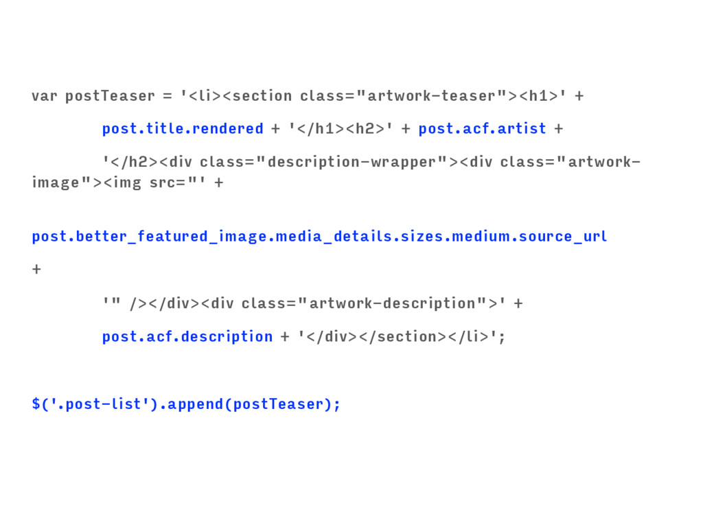 """var postTeaser = '<li><section class=""""artwork-t..."""