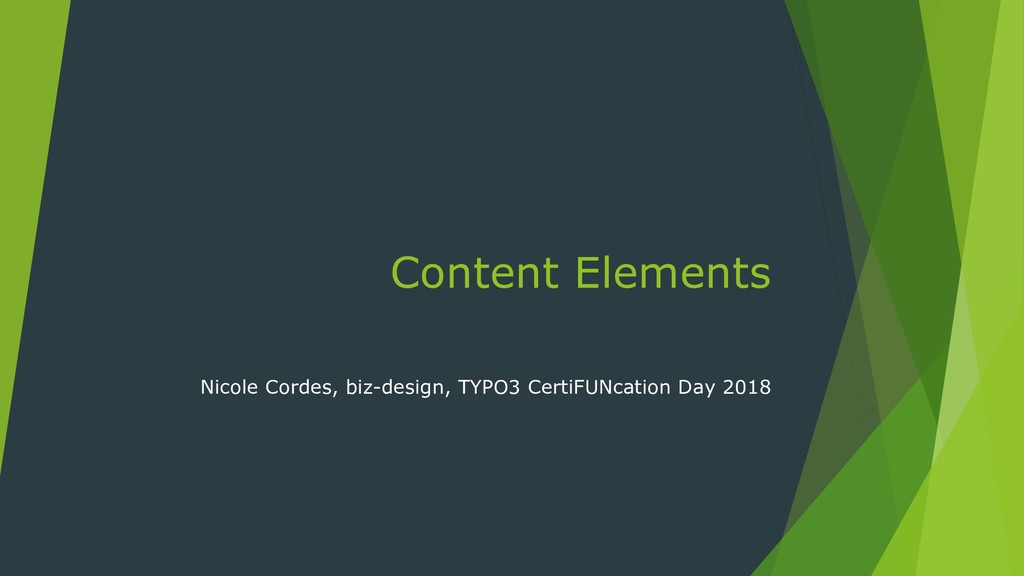 Content Elements Nicole Cordes, biz-design, TYP...
