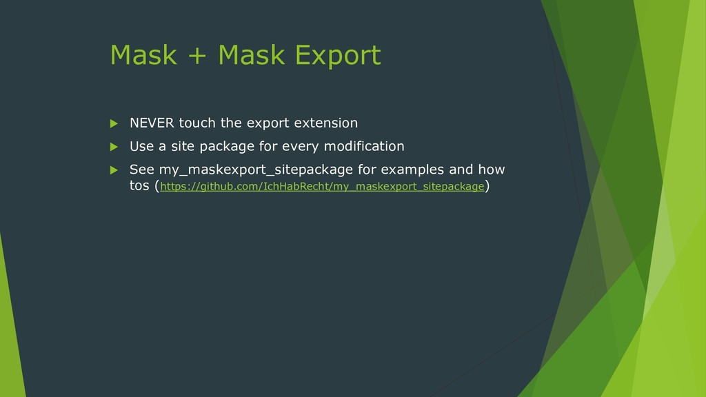 Mask + Mask Export  NEVER touch the export ext...