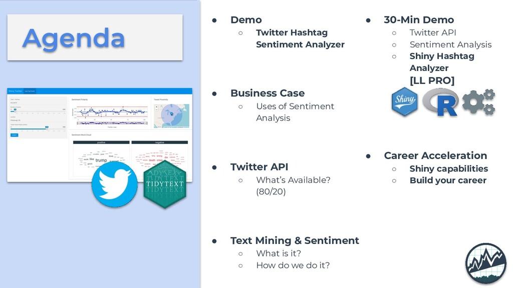 Agenda ● Demo ○ Twitter Hashtag Sentiment Analy...