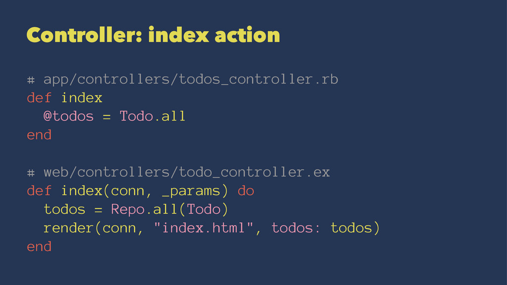 Controller: index action # app/controllers/todo...