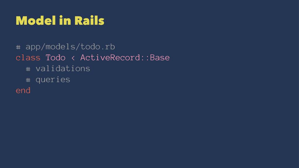 Model in Rails # app/models/todo.rb class Todo ...