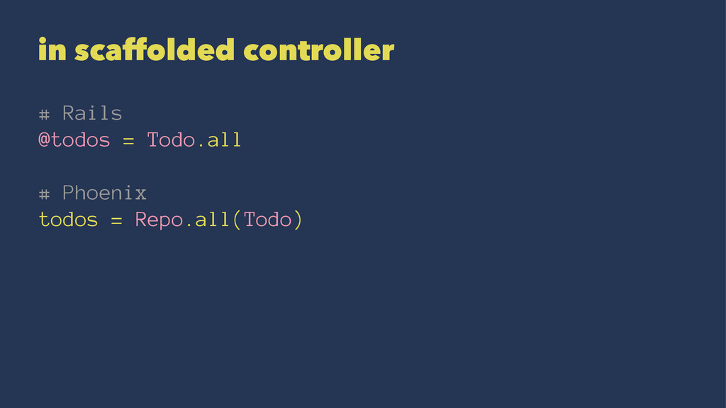 in scaffolded controller # Rails @todos = Todo....