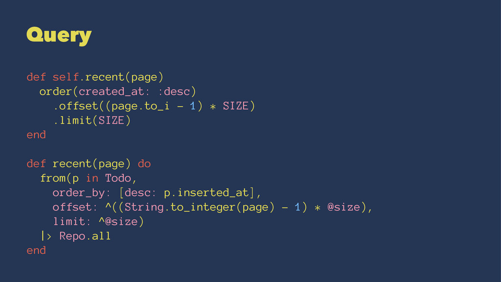 Query def self.recent(page) order(created_at: :...