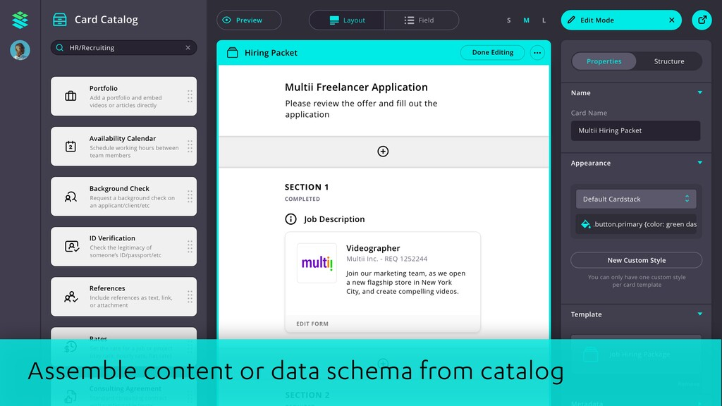 Assemble content or data schema from catalog