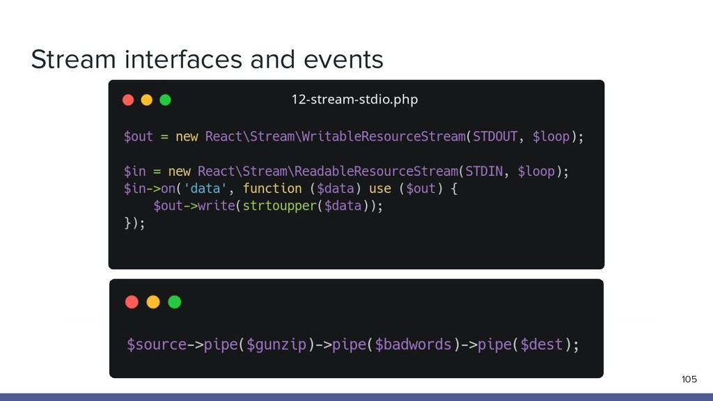 Stream interfaces and events 105