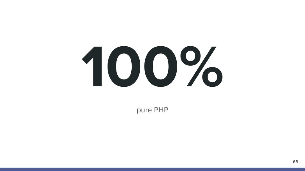100% pure PHP 68