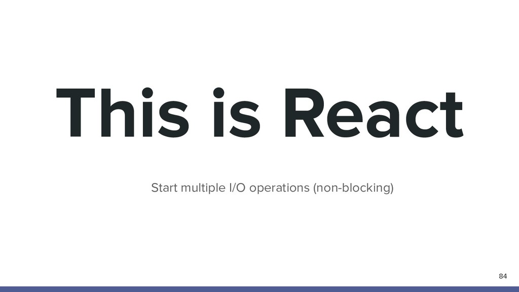 This is React 84 Start multiple I/O operations ...