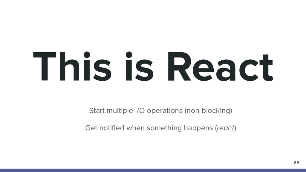 This is React 85 Start multiple I/O operations ...