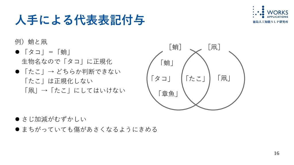 16 人手による代表表記付与 例)蛸と凧 ● 「タコ」=「蛸」 生物名なので「タコ」に正規化 ...