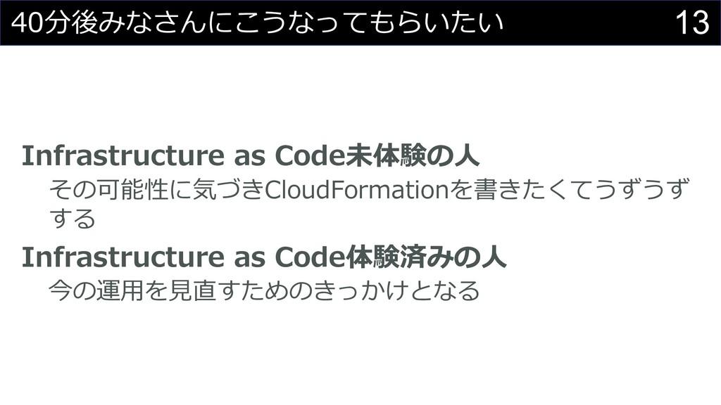 13 40分後みなさんにこうなってもらいたい Infrastructure as Code未体...