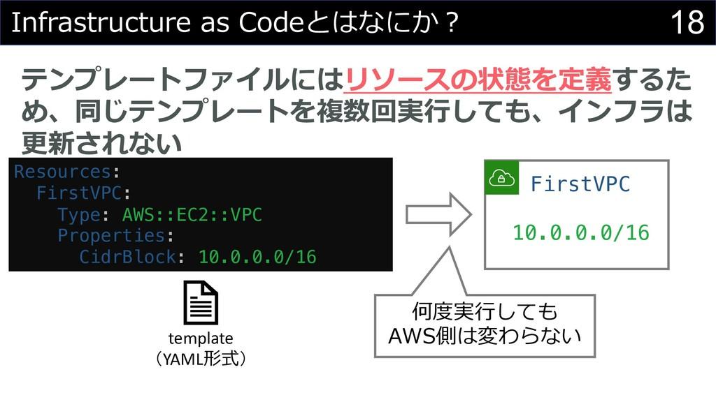 18 Infrastructure as Codeとはなにか︖ テンプレートファイルにはリソー...
